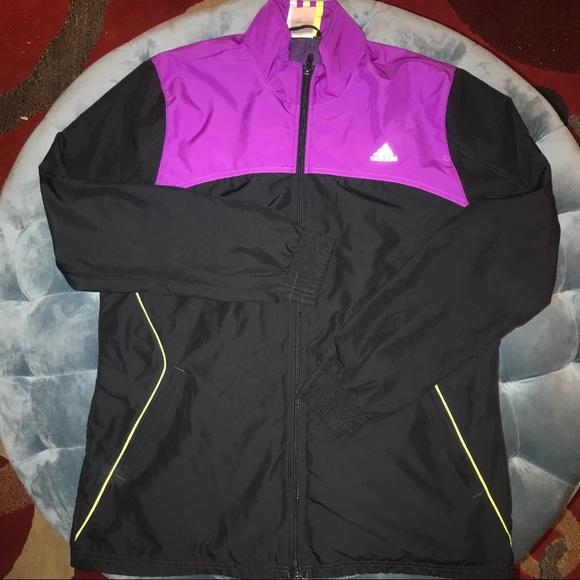 COOL! Adidas Track Jacket Purple Black Sz Large!